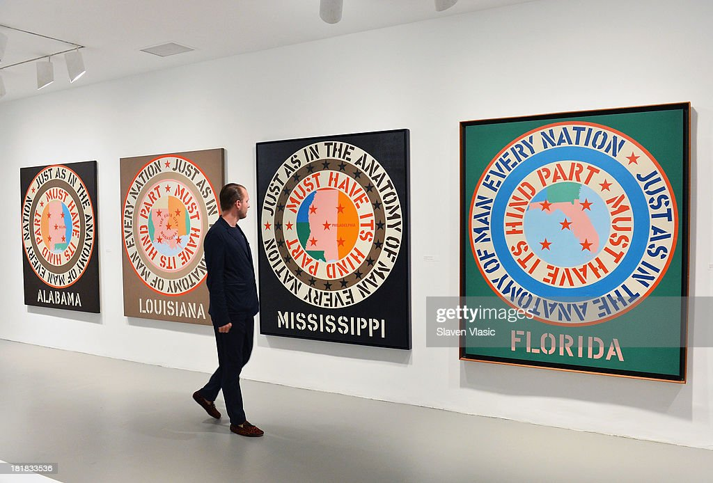 Robert Indiana's (L-R) 'Alabama', 'Lousiana', 'Mississippi' and 'Florida', all oil on canvas, a part of 'Robert Indiana: Beyond Love' exibition on display at The Whitney Museum of American Art on September 25, 2013 in New York City.