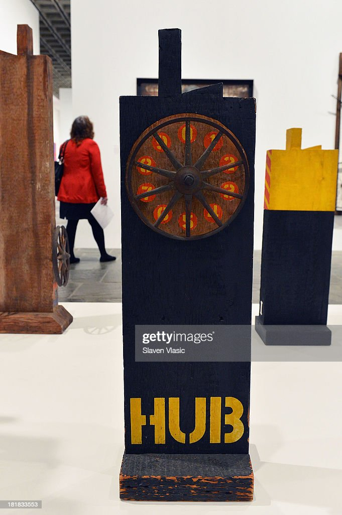 Robert Indiana's 'Hub' oil on wood and iron wheels, a part of 'Robert Indiana: Beyond Love' exibition on display at The Whitney Museum of American Art on September 25, 2013 in New York City.