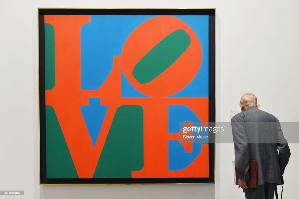 Robert Indiana's 'LOVE' oil on canvas, a part of 'Robert Indiana: Beyond Love' exibition on display at The Whitney Museum of American Art on September 25, 2013 in New York City.