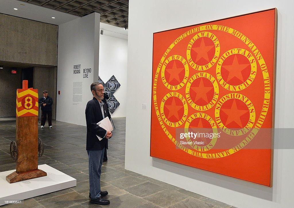 Robert Indiana's 'The Calumet' oil on canvas, a part of 'Robert Indiana: Beyond Love' exibition on display at The Whitney Museum of American Art on September 25, 2013 in New York City.