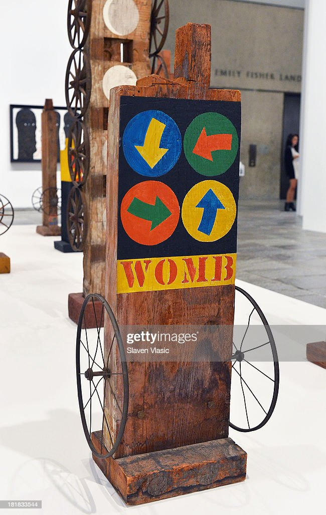 Robert Indiana's 'Womb' oil on wood and iron wheels, a part of 'Robert Indiana: Beyond Love' exibition on display at The Whitney Museum of American Art on September 25, 2013 in New York City.