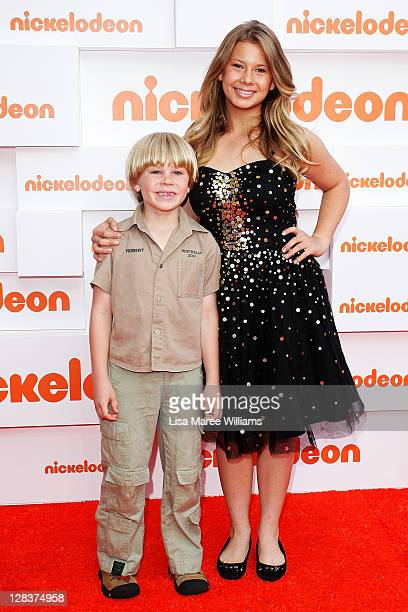 Robert Irwin and Bindi Irwin arrive at the 2011 Nickelodeon Kid's Choice Awards at the Sydney Entertainment Centre on October 7 2011 in Sydney...