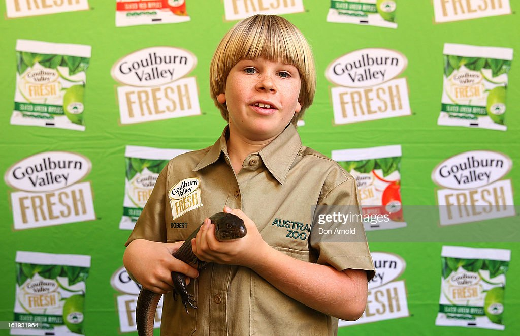 Robert Irwin poses with a lizard during the Goulburn Valley Fresh launch at Martin Place on February 18, 2013 in Sydney, Australia.