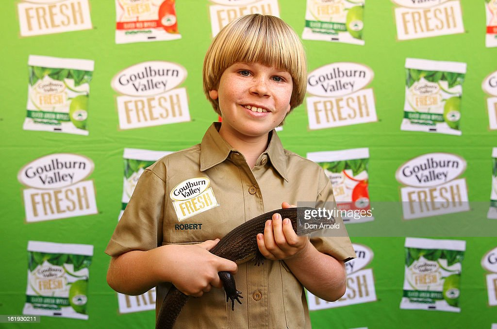 Robert Irwin poses with a pet lizard during the Goulburn Valley Fresh launch at Martin Place on February 18, 2013 in Sydney, Australia.