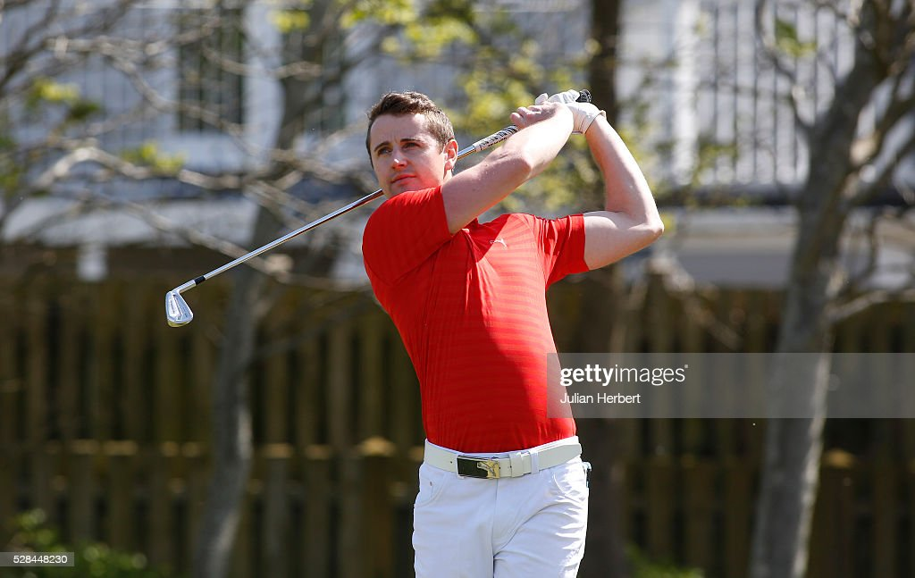 Robert Jackson of Morriston Golf Club plays his first shot on the 1st tee during the PGA Professional Championship - West Qualifier at Burnham And Berrow Golf Club Club on May 5, 2016, in Burnham-On-Sea, England.