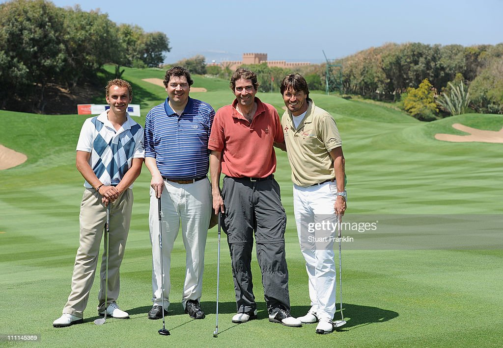Robert Jan Derksen and Joost Luiten of The Netherlands with their playing partners during practice prior to the start of the Trophee du Hassan II...