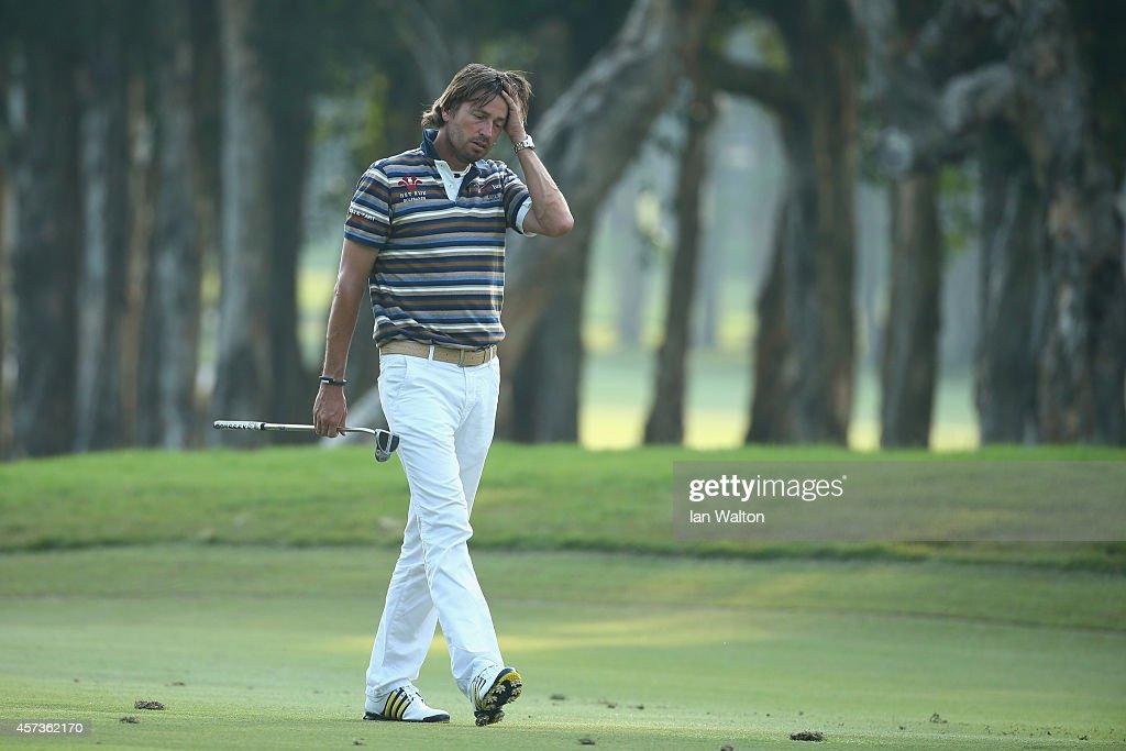 Robert Jan Derksen of The Netherlands during the 2nd round of the 2014 Hong Kong open at The Hong Kong Golf Club at The Hong Kong Golf Club on...