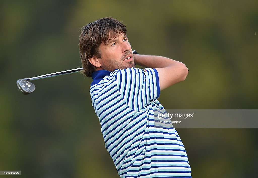 Robert Jan Derksen of The Netherlands plays a shot during the first round of the Omega European Masters at CranssurSierre Golf Club on September 4...
