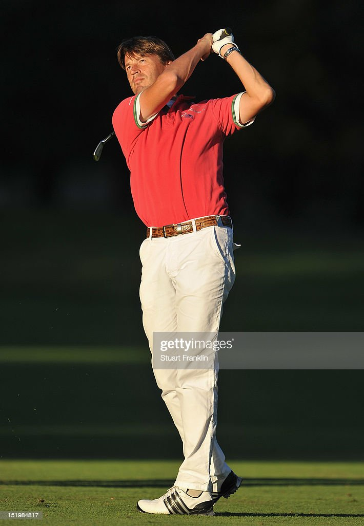 Robert Jan Derksen of The Netherlands plays a shot during the second round of the BMW Italian open at Royal Park Golf & Country Club on September 14, 2012 in Turin, Italy.