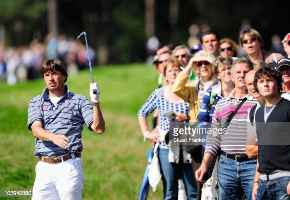 Robert Jan Derksen of The Netherlands plays his approach shot on the sixth hole during the first round of The KLM Open Golf at The Hillversumsche...