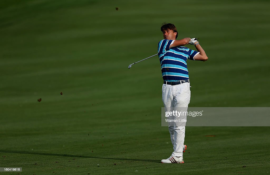 Robert Jan-Derksen of the Netherlands in action during the first round of the Omega Dubai Desert Classic at Emirates Golf Club on January 31, 2013 in Dubai, United Arab Emirates.