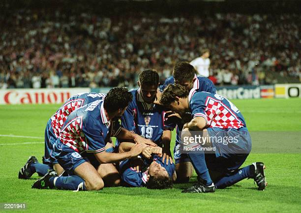 Robert Jarni of Croatia celebrates his goal with his teammates during the FIFA World Cup Finals 1998 Quarter Final match between Croatia and Germany...
