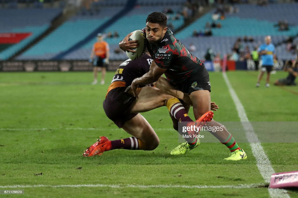 Robert Jennings of the Rabbitohs is tackled short of the try line during the round eight NRL match between the South Sydney Rabbitohs and the Brisbane Broncos at ANZ Stadium on April 21, 2017 in Sydney, Australia.