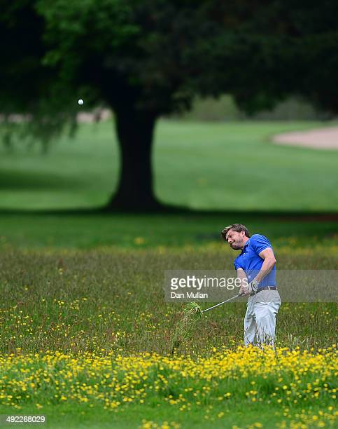 Robert Johnson of Cardiff Golf Club plays a shot on the third hole during the Powerade PGA Assistants' Championship Western Regional Qualifier at...
