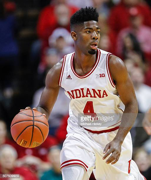 Robert Johnson of the Indiana Hoosiers brings the ball up court during the game against the Ohio State Buckeyes at Assembly Hall on January 10 2016...