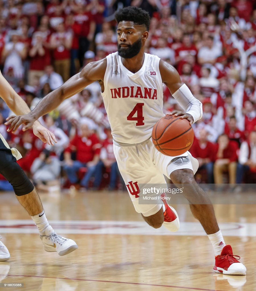 Robert Johnson #4 of the Indiana Hoosiers drives to the basket during the game against the Purdue Boilermakers at Assembly Hall on January 28, 2018 in Bloomington, Indiana.