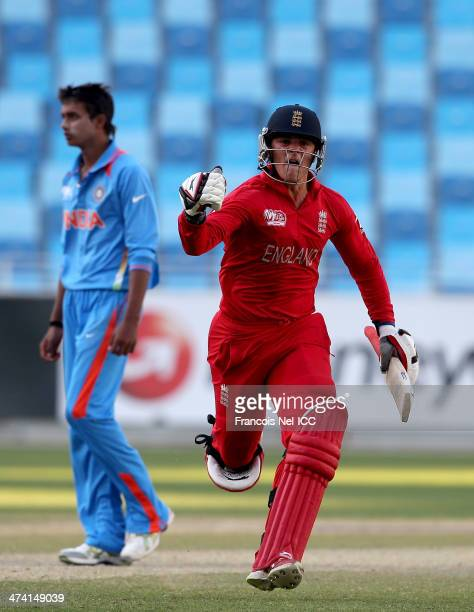Robert Jones of England celebrate after winning the ICC U19 Cricket World Cup 2014 Quarter Final match between England and India at the Dubai Sports...