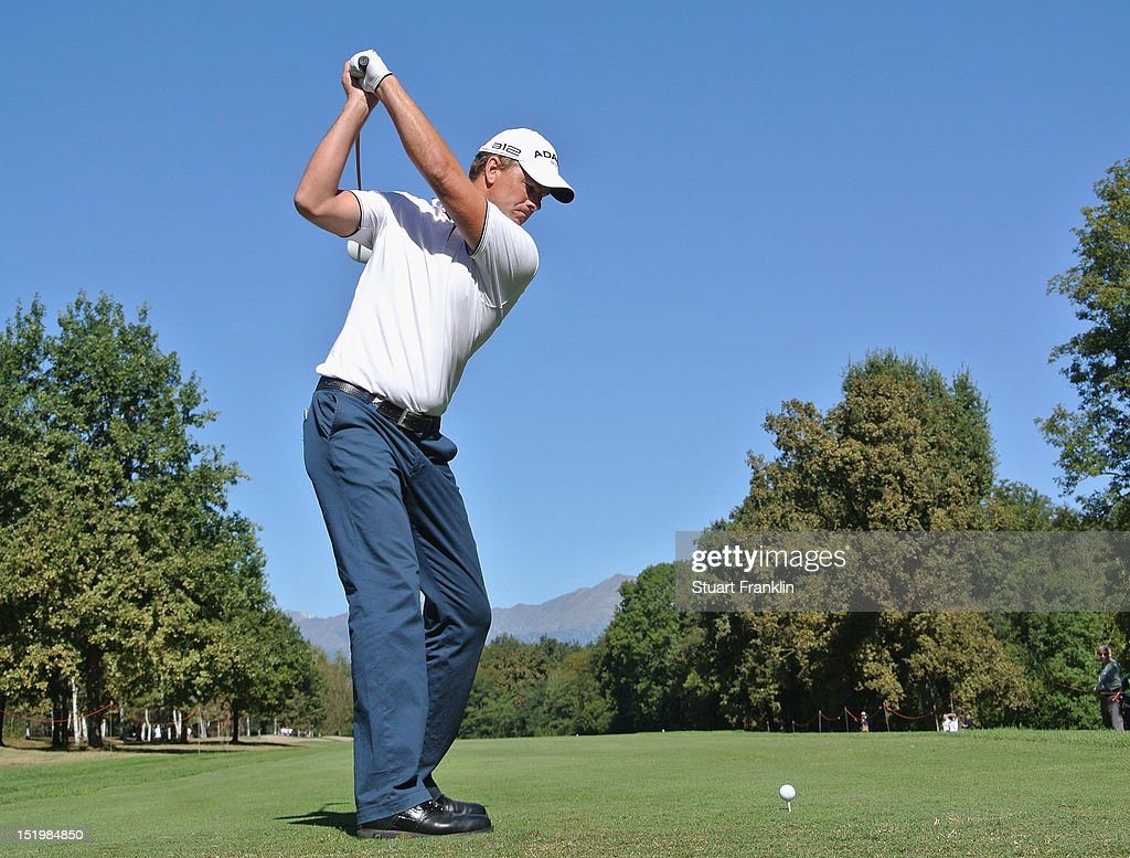 Robert Karlsson of Denmark plays a shot during the second round of the BMW Italian open at Royal Park Golf & Country Club on September 14, 2012 in Turin, Italy.