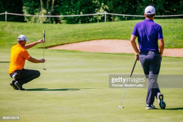Robert Karlsson of Sweden and Edoardo Molinari of Italy are seen at day one of the Saltire Energy Paul Lawrie Matchplay at Golf Resort Bad Griesbach...