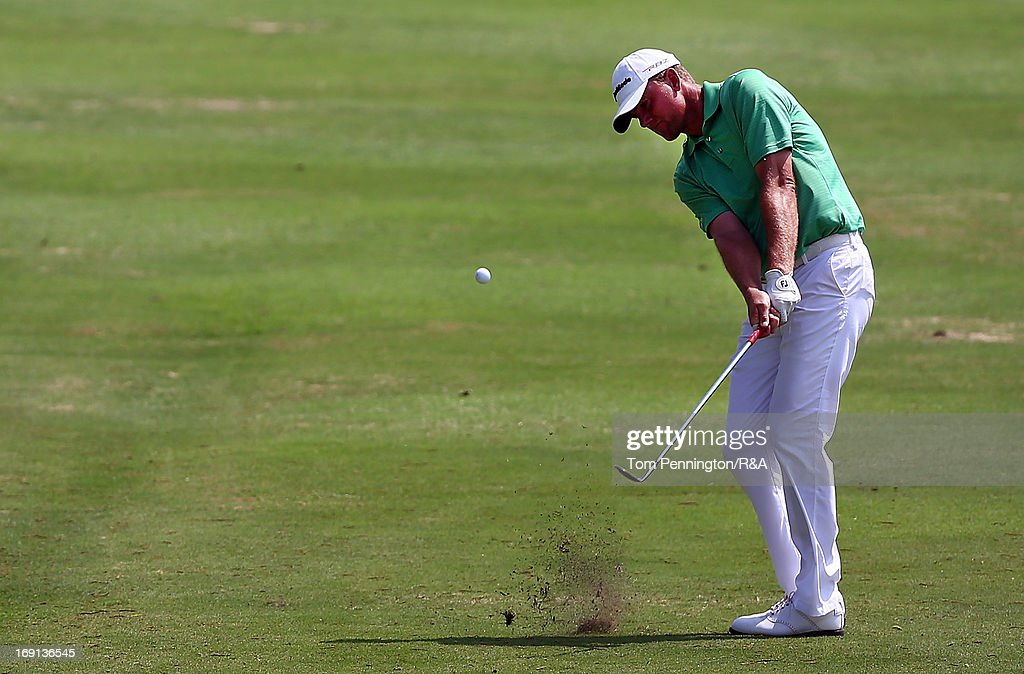 <a gi-track='captionPersonalityLinkClicked' href=/galleries/search?phrase=Robert+Karlsson&family=editorial&specificpeople=214653 ng-click='$event.stopPropagation()'>Robert Karlsson</a> of Sweden hits a shot during The Open Championship International Final Qualifying America at Gleneagles Golf and Country Club on May 20, 2013 in Plano, Texas.