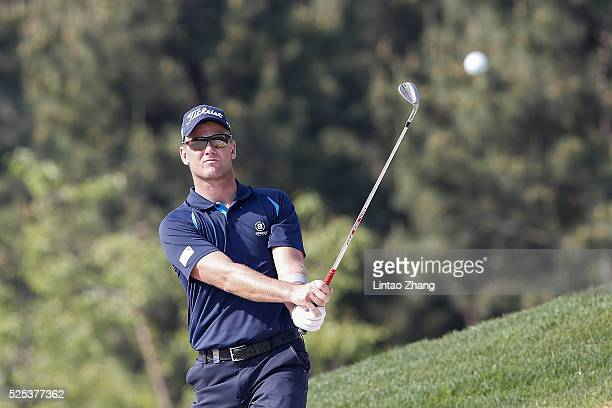 Robert Karlsson of Sweden plays a shot during the first round of the Volvo China open on April 28 2016 in Beijing China