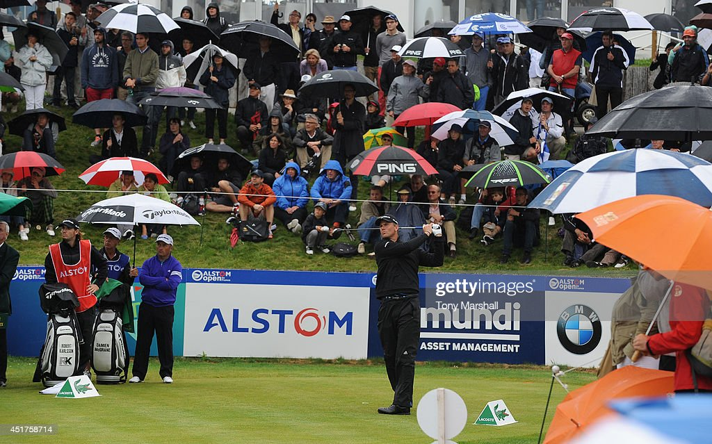 Robert Karlsson of Sweden plays his first shot on the 1st tee during the Alstom Open de France - Day Four at Le Golf National on July 6, 2014 in Paris, France.
