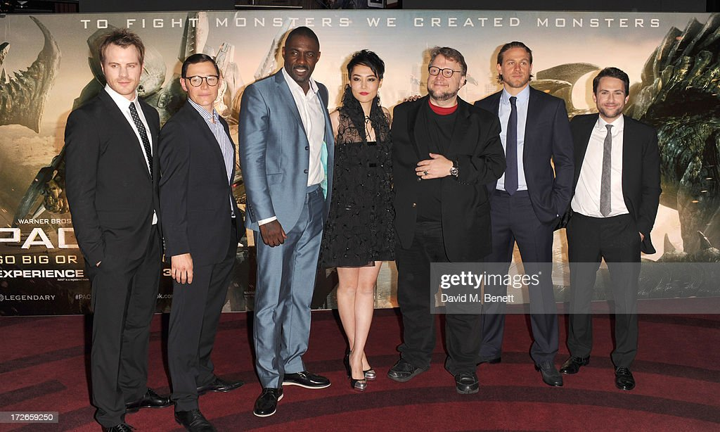 Robert Kazinski, Burn Gorman, Idris Elba, Rinko Kikuch, Guillermo Del Toro, Charlie Hunnam and Charlie Day attends the European Premiere of 'Pacific Rim' at BFI IMAX on July 4, 2013 in London, England.