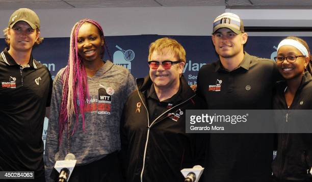 Robert Kendrick Venus Williams Sir Elton John Andy Roddick and Vicky Duval pose after a press conference for Mylan World TeamTennis at ESPN Wide...