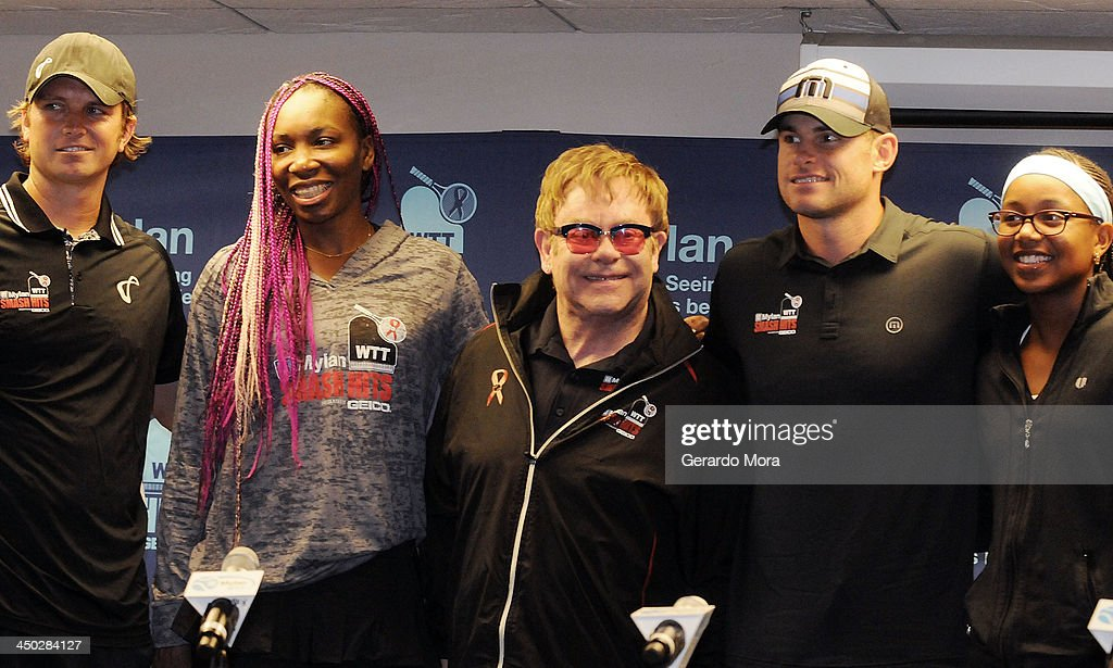 Robert Kendrick, Venus Williams, Sir Elton John, Andy Roddick and Vicky Duval pose after a press conference for Mylan World TeamTennis at ESPN Wide World of Sports Complex on November 17, 2013 in Lake Buena Vista, Florida.