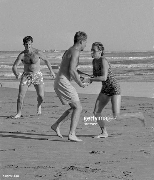 Robert Kennedy brother of US President John F Kennedy interrupted a brisk touch football game on the beach here 11/19 to decline comment on the...