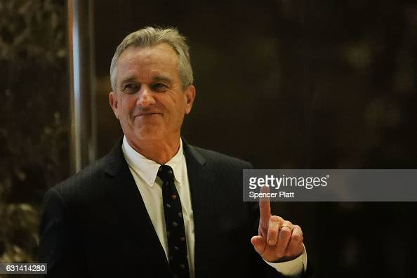 Robert Kennedy Jr heads up to a meeting at Trump Tower on January 10 2017 in New York City Presidentelect Donald Trump continues to hold meetings at...