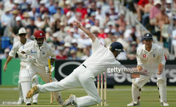Robert Key of England makes a diving catch to dismiss Shivnarine Chanderpaul of the West Indies during day three of the England v West Indies 2nd...