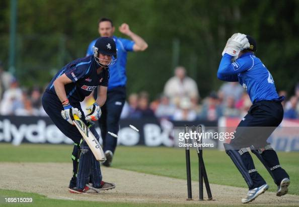 Robert Key of Kent is stumped by Ben Brown of Sussex during the Yorkshire Bank 40 match between Sussex Sharks and Kent Spitfires at Horsham Sports...
