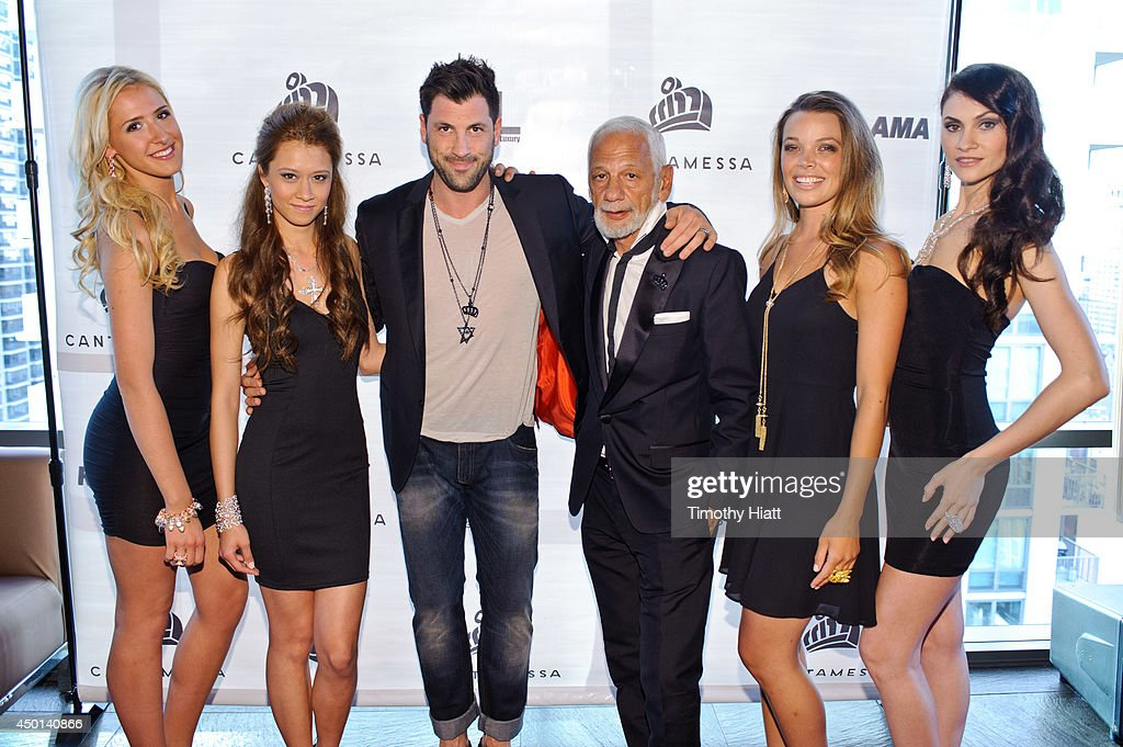 Robert Kheit, <a gi-track='captionPersonalityLinkClicked' href=/galleries/search?phrase=Maksim+Chmerkovskiy&family=editorial&specificpeople=4251170 ng-click='$event.stopPropagation()'>Maksim Chmerkovskiy</a>, and Cantamessa models attend the 2014 Cantamessa Collection Preview>> at Vertigo Sky Lounge on June 5, 2014 in Chicago, Illinois.