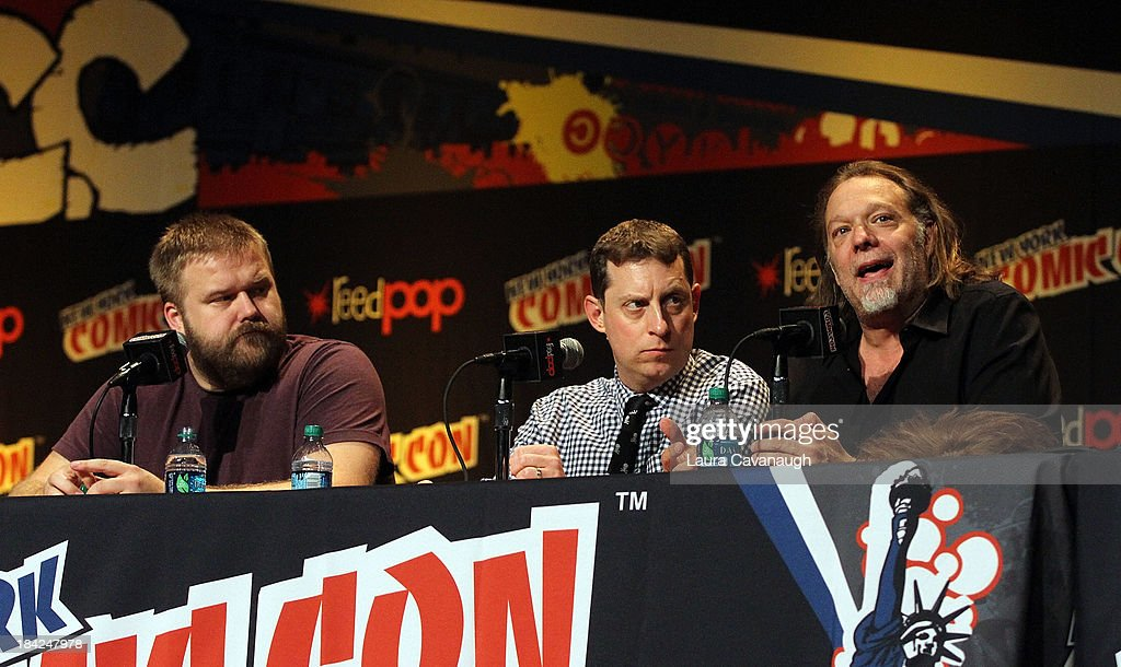 <a gi-track='captionPersonalityLinkClicked' href=/galleries/search?phrase=Robert+Kirkman&family=editorial&specificpeople=3951162 ng-click='$event.stopPropagation()'>Robert Kirkman</a> (L) and Greg Nicotero (R) attend 'The Walking Dead' Panel at New York Comic Con at Jacob Javits Center on October 12, 2013 in New York City.