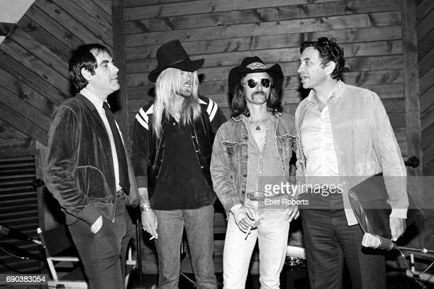 LR Robert Klein Gregg Allman Dickey Betts and Bill Graham on Robert Klein's Radio Show at DIR in New York City on April 19 1979