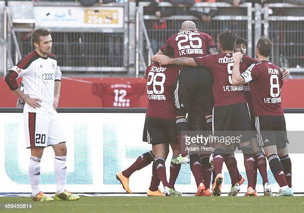 Robert Koch of FC Nuernberg is congratulated after scoring the first goal during the 2 Bundesliga match between FC Nuernberg and FC Ingolstadt at...