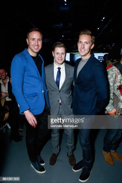 Robert Kogan Kip Cronkite and Benjamin Dixon attended the Jeffrey Fashion Cares show at Intrepid SeaAirSpace Museum on April 3 2017 in New York City