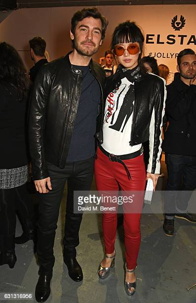 Robert Konjic and Betty Bachz attend the Belstaff presentation during London Fashion Week Men's January 2017 collections at Ambika P3 on January 9...
