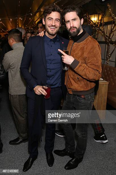 Robert Konjic and Jack Guinness attend the Selfridges Nick Wooster Tommy Ton dinner during the London Collections Men AW15 at on January 9 2015 in...