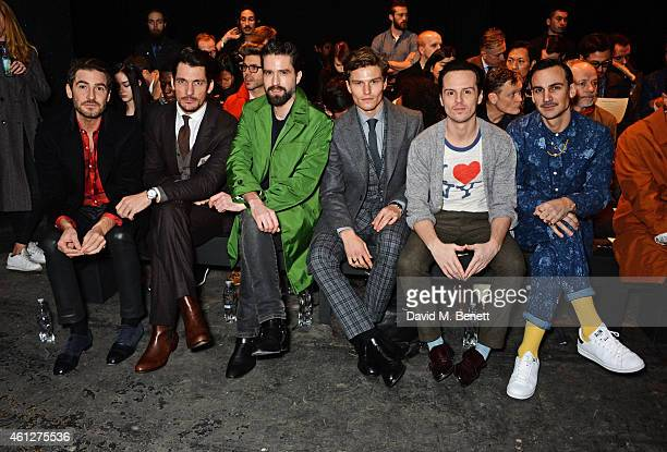 Robert Konjic David Gandy Jack Guinness Oliver Cheshire Andrew Scott and Henry LloydHughes attend the front row at the Oliver Spencer show during...