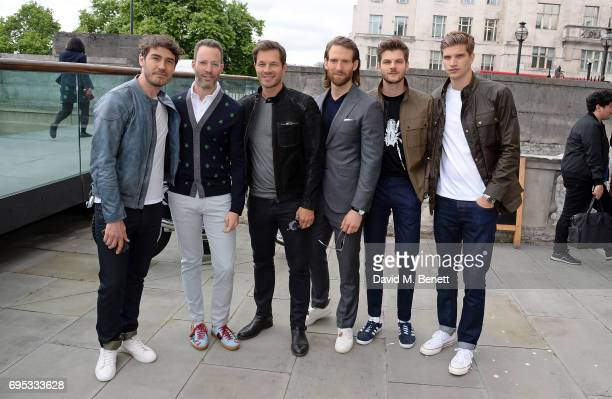 Robert Konjic guest Paul Sculfor Craig McGinlay Jim Chapman and Toby HuntingtonWhiteley attend the Belstaff Presentation during the London Fashion...