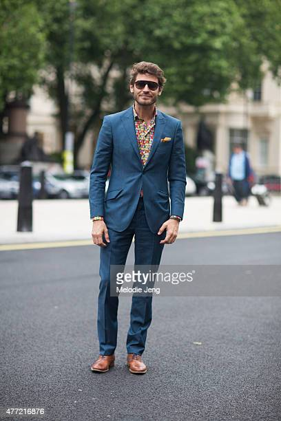 Robert Konjic wears Richard James during The London Collections Men SS16 at on June 14 2015 in London England