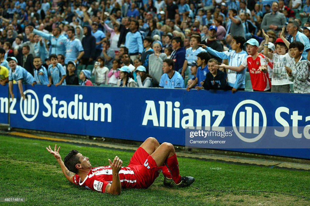 Robert Koren of Melbourne City FC reacts to fans after he was tackled over the sideline during the round one A-League match between Sydney FC and Melbourne City FC at Allianz Stadium on October 10, 2015 in Sydney, Australia.