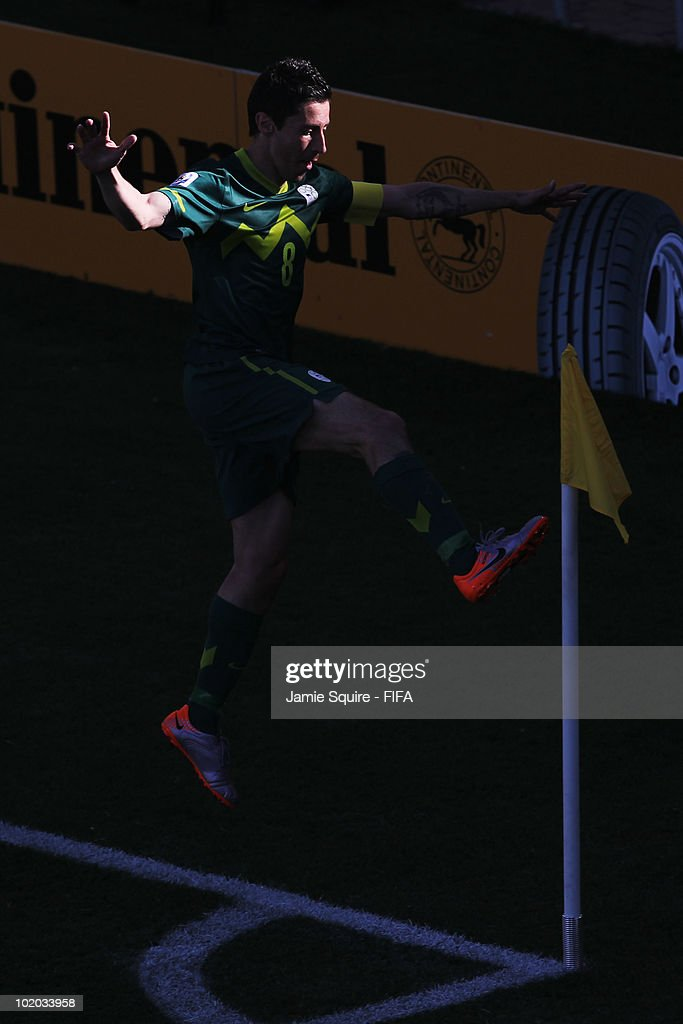 Robert Koren of Slovenia celebrates after scoring the first goal during the 2010 FIFA World Cup South Africa Group C match between Algeria and Slovenia at the Peter Mokaba Stadium on June 13, 2010 in Polokwane, South Africa.