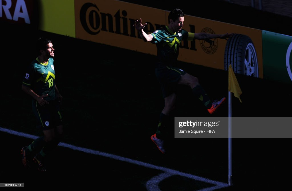 Robert Koren of Slovenia celebrates kicking the corner flag after scoring the first goal during the 2010 FIFA World Cup South Africa Group C match between Algeria and Slovenia at the Peter Mokaba Stadium on June 13, 2010 in Polokwane, South Africa.