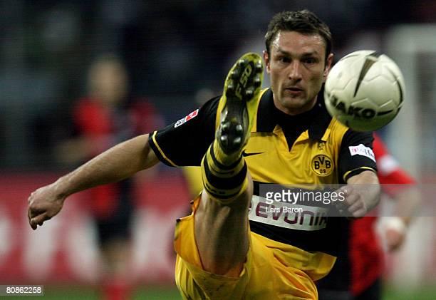 Robert Kovac of Dortmund kicks during the Bundesliga match between Eintracht Frankfurt and Borussia Dortmund at the Commerzbank Arena April 25 2008...