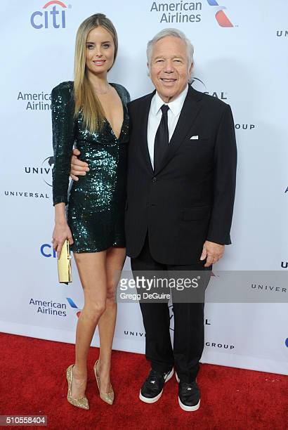 Robert Kraft and Ricki Lander arrive at Universal Music Group's 2016 GRAMMY After Party at The Theatre At The Ace Hotel on February 15 2016 in Los...