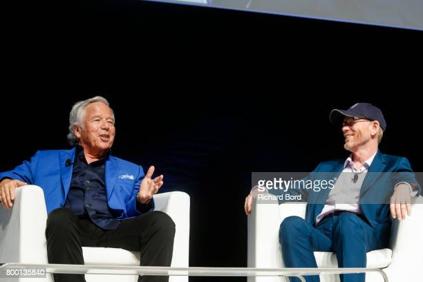 Robert Kraft and Ron Howard speak during the Cannes Lions Festival 2017 on June 23 2017 in Cannes France