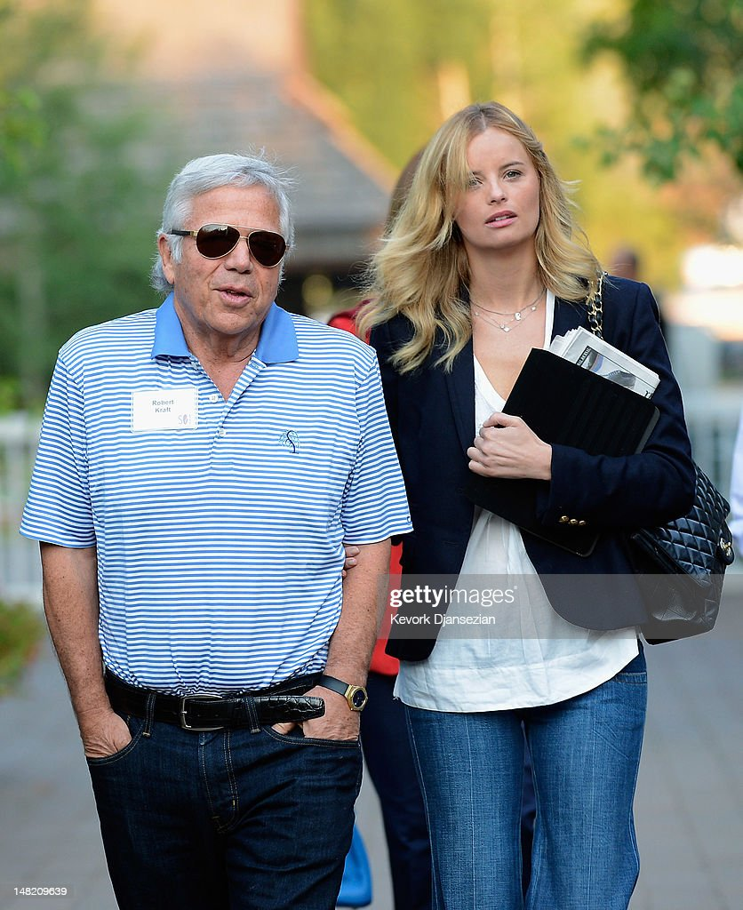 Robert Kraft, (L) Chairman and CEO of The Kraft Group, with girlfriend actress Ricki Lander (2ndL), attend the Allen & Company Sun Valley Conference on July 11, 2012 in Sun Valley, Idaho. The conference has been hosted annually by the investment firm Allen & Company each July since 1983. The conference is typically attended by many of the world's most powerful media executives.